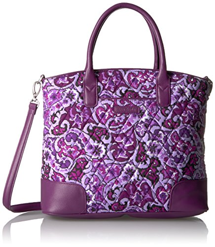 Vera Bradley Signature Cotton Day Off Satchel Purse, Lilac Paisley with Purple