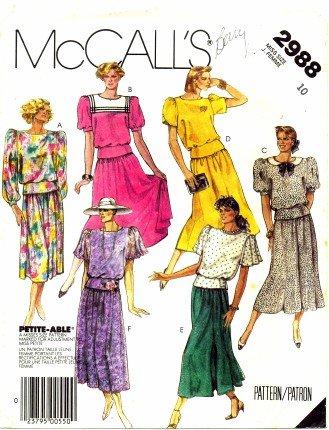 McCall's 2988 Schnittmuster für Damenoberteil, Rock, Fliege, Größe 38 – Brustumfang 82