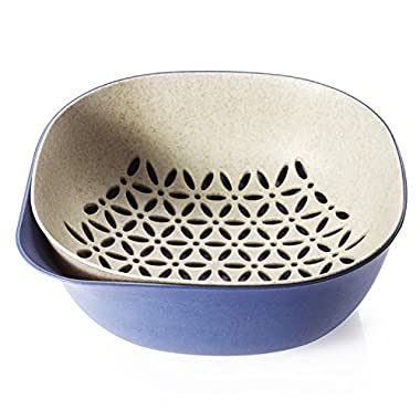 Elohas Collapsible Colanders Plastic Fruit And Vegetable Strainer Stackable Soaking Bowl Set (Navy Blue)