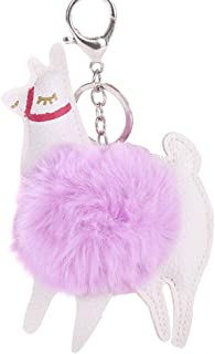 Sanwooden Cute Key Chain Lovely Alpaca Faux Fur Ball Keyring Car Key Chain Women'S Bag Hanging Decor Girl Fashion Accessories