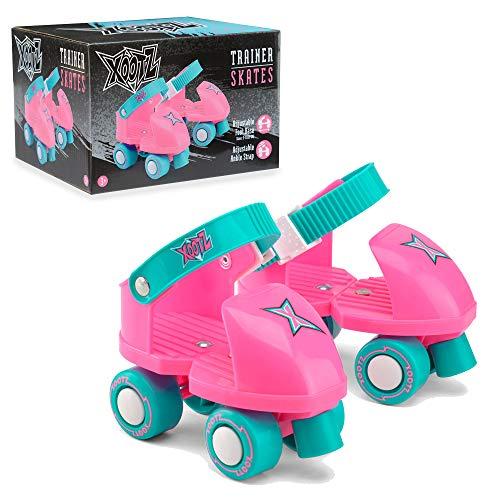 Xootz Beginner Trainer Skates, My First 4 Wheel Quad Roller Skates for Kids, Boys and Girls, Pink, One Size