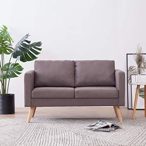 Festnight 2-Sitzer-Sofa Lounge Sofa | Kleines Stoffsofa Polstersofa | Modern Couch mit Holzrahmen + Stoffpolsterung | für Wohnzimmer Schlafzimmer | Taupe