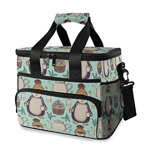 Kühltasche, Skizze Pinguin Hut Tasse Tee Cookie 15L große isolierte Lunch Bag Picknick Kühler, Rucksack Kühler