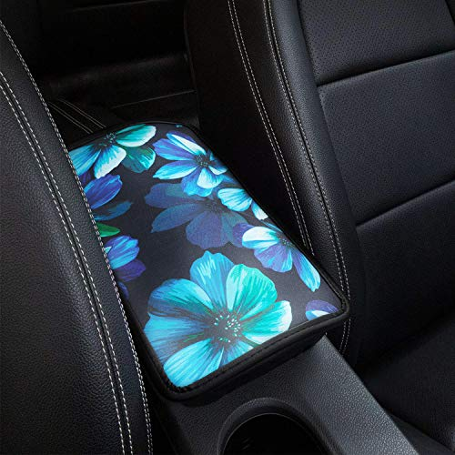 SUHU Car Armrest Cover Cushion, Universal Auto Center Console Pad, Fit Soft Comfort Armrest Seat Box Cover Protector Fit for SUV/Truck/Car, Stylish Pattern Printed Console Cover Pad, Aqua Flower