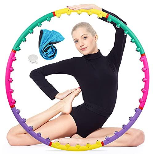 Herefun Hula Hoop mit Noppen, Hoop Reifen Fitness für Erwachsene, Magneten Massagedesign 8 Segmente Größenvertsellbar Fitnessreifen(Maßband + Handtuch) auf Gewichtsverlust und Fitness
