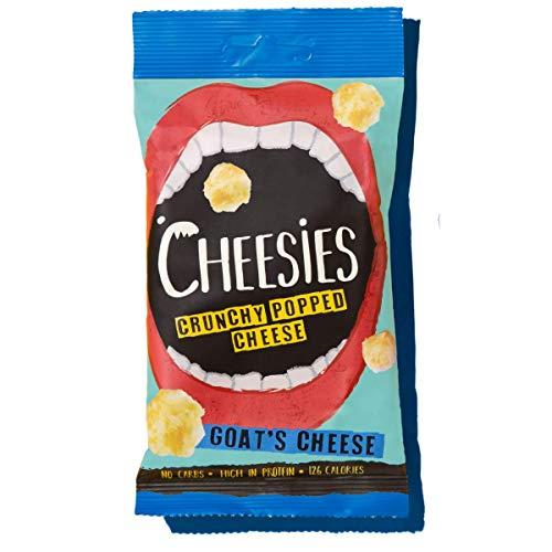 Cheesies Knuspriger gepoppter Käse-Snack, Ziegenkäse. Ohne Kohlenhydrate, mit hohem Proteingehalt, glutenfrei, vegetarisch, Keto. Ziegenkäse 12 x 20g Packungen