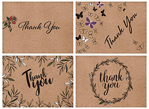 100 Kraft Thank You Cards Bulk- 4 Designs of Assorted Thank U Greeting Notes, Blank Inside with Matching Envelopes & Stickers. Perfect for Baby Shower, Wedding, Business & Much More.