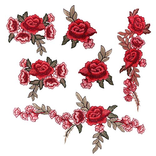 Dsaren 6pcs Fiori Patches Ricamato Rose Fiore Fai da Te Toppe da Cucire per Vestiti Jeans (C)