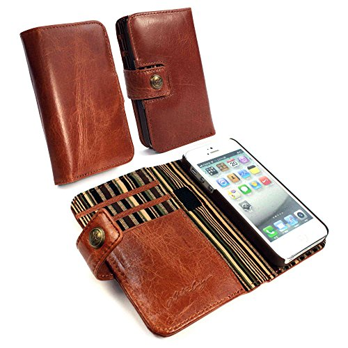 Tuff-Luv Alston Craig - Funda para móvil iPhone 5/5S (con protector de pantalla), marrón