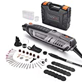 TACKLIFE Rotary Tool 1.8 Amp Power with 4 Attachments Including Flex Shaft, Shield, Grip and Cutting Guide, 61 Accessories Perfect for Sanding, Grinding, Cutting and Engraving-RTD36AC