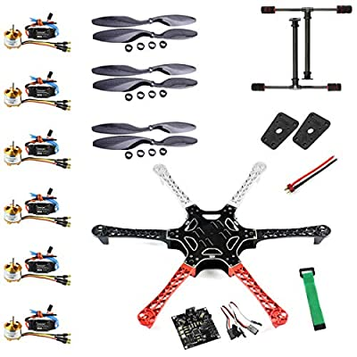 QWinOut F550 Airframe RC Hexacopter Drone Kit DIY PNF Unassembly Combo Set with Kkmulticopter Flight Controller for Beginners
