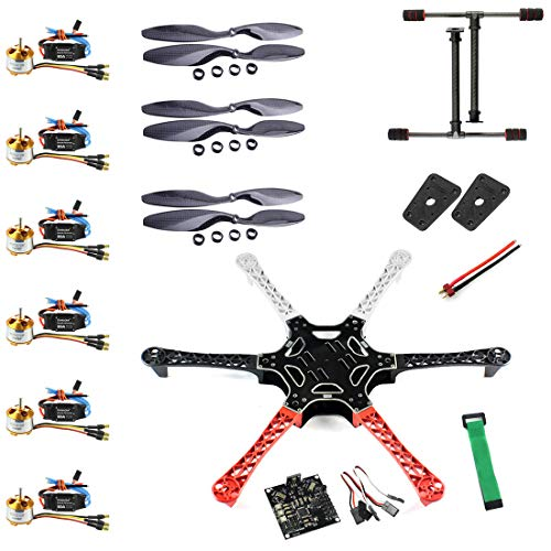 QWinOut F550 Airframe RC Hexacopter Drone Kit DIY PNF Unassembly Combo Set with Kkmulticopter Flight Controller for Beginners (No Battery and Remote Controller)