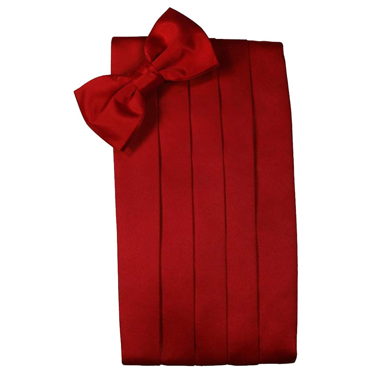 Men's Solid Satin Cummerbund & Bow Tie Set - Many Colors (Scarlet) dgbklzcvkda6