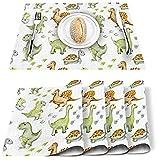 Juego de 4 manteles individuales con diseño de dinosaurios de dinosaurios y parque jurásico de poliéster,resistentes a las manchas,lavable,decoración para el hogar,verde,amarillo,blanco