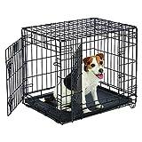 Jaula de 76,2 cm para mascotas, jaula de cachorros, caja de juegos para el hogar, puerta plegable, para entrenamiento, doble puerta, 77,5 x 48,5 x 55,5 cm, color negro