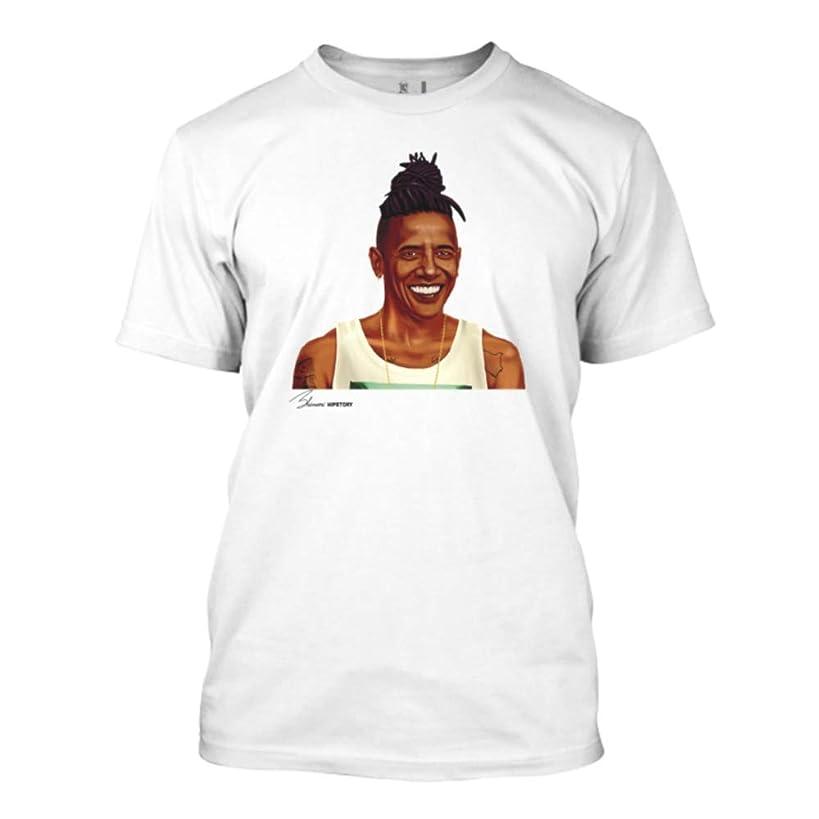 Von Zeppelin, Men's Barack Obama Hipster Graphic Cotton T-Shirt, White, Crew Neck, Short Sleeve.