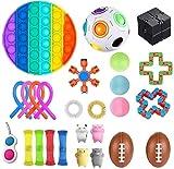 XRDSHY Juego De Juguetes Sensoriales De Fidget, Conjunto De Juguetes Anti De Estrés, Bolas De Estrés para Adultos Y Niños, Juguetes Sensoriales para La Gente del ADHS del Autismo,Rainbow
