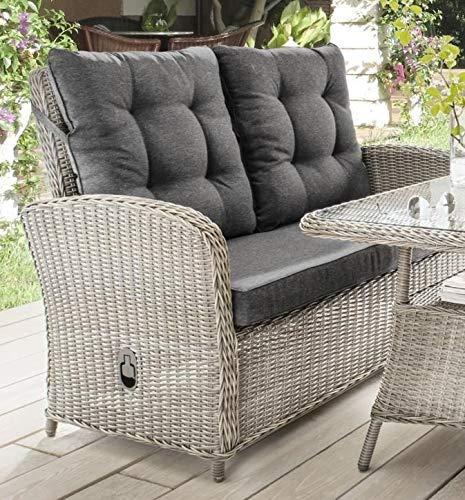 Destiny 2er Gartenbank Merano Relax Vario Vintage Weiß Loungesofa Sofa - Ohne Tisch -