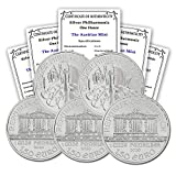 AT 2020 Austrian Philharmonic Silver Lot of (5) Coins 1 oz 999 Fine Silver 1.50 Euros Brilliant Uncirculated w/Certificates of Authenticity by CoinFolio BU