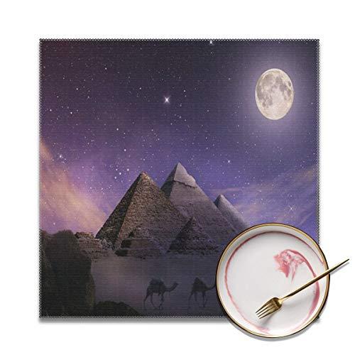 Wrution Pyramiden Gizeh Nachtwohnwagen Kamel Beduine Tischsets Esstisch waschbar gewebtes Vinyl Tischset Küchenmatten Hitzebeständig Set von 4 Stück (30,5 x 30,5 cm)