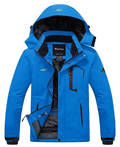 Wantdo Men's Waterproof Fleece Liner Ski Jacket Big&Tall Rain Coat Acid Blue S