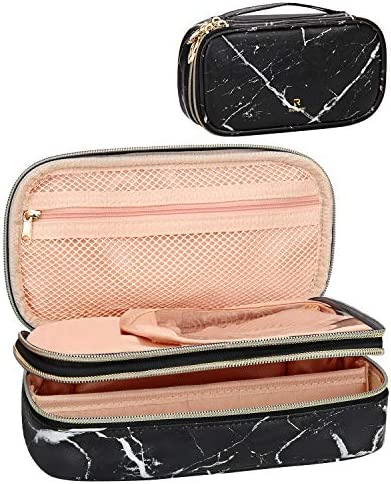 Makeup Brush Cosmetic Organizer Portable 2 layer Small Makeup Pouch Holder PU Leather Case with product image