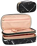 Makeup Brush Cosmetic Organizer Portable 2 layer Small Makeup Pouch Holder PU Leather Case with Carry Handle for Travel (Marble black)