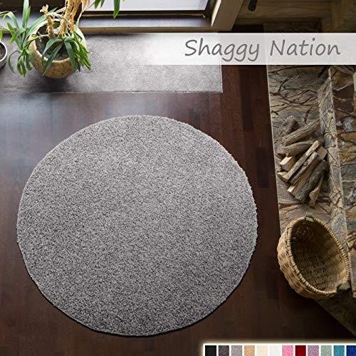 Shaggy-Teppich | Flauschiger Hochflor für Wohnzimmer, Schlafzimmer, Kinderzimmer oder Flur Läufer | einfarbig, schadstoffgeprüft, allergikergeeignet | Grau - 200 cm rund