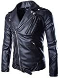 Men's Faux-Leather Slim Fit Motorcycle Jacket Black 2XL (Tag)