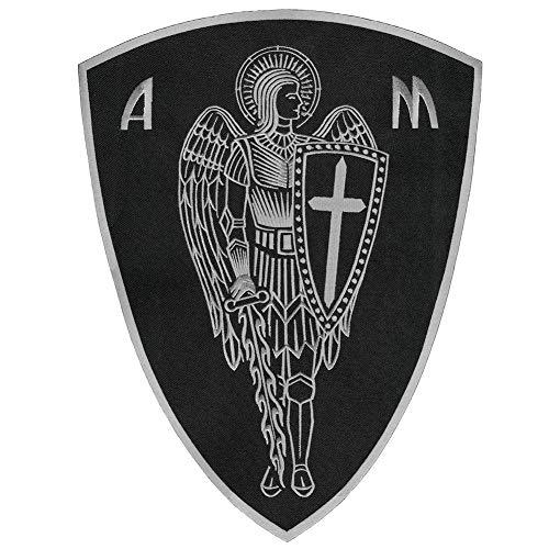 VEGASBEE Parche bordado para planchar con escudo de espada de San Miguel de San Miguel de la Cruz de Ángel Guardián de los Estados Unidos (Negro-Gris, Grande)