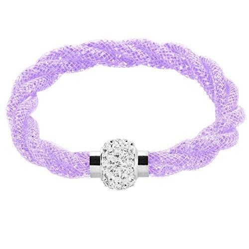 Mianova Damen Stardust Schlauch Armband Armreif Netzschlauch Nylon mit Strass Steinen Kristallen Shamballa Kugel Silber Flieder