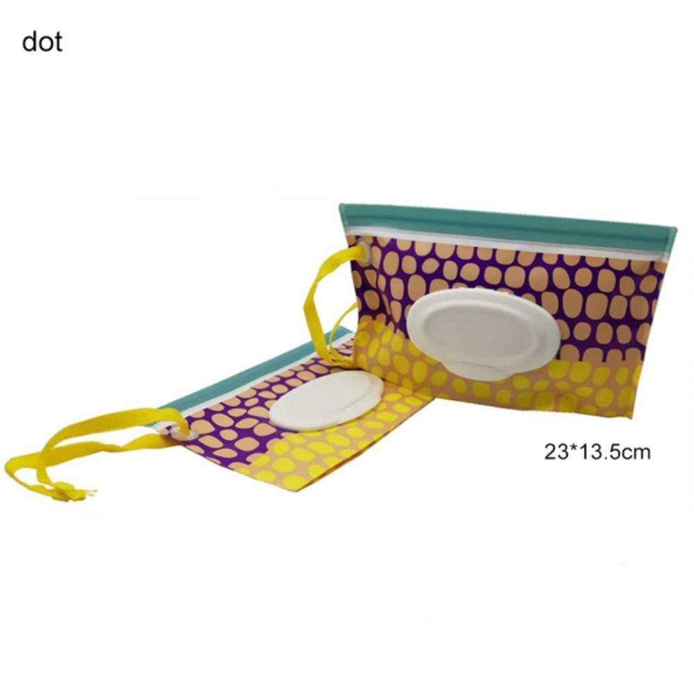 LASISZ Caja de toallitas ecológicas para bebés Bolsa de cosméticos portátil con Tapa Estuche para toallitas húmedas Contenedor de toallitas Toallitas limpias fáciles de Transportar, Punto: Amazon.es: Hogar