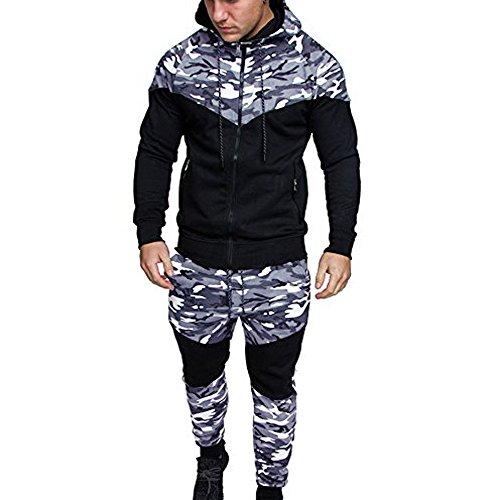 PPangUDing Trainingsanzug Sportanzug Herren Mode 2 Stück Set Camouflage Printed Lange Ärmel Zipper Kapuzenpullover Sweatshirt Top + Lange Hose Sportswear Set Sport Fitness Outfit Jogginganzug
