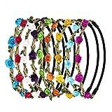 URAQT Couronnes de Fleurs Cheveux, haarband avec couronne de fleurs Bandeau Bandeau Bandes de Cheveux de Fleurs avec bande élastique pour les femmes Fille Multicolore Fleurs Lot de 9