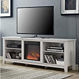 FastFurnishings White Wash Wood 70-inch TV Stand Fireplace Space...