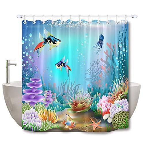 liuweideshoop Unterwasser 3D World of Fish Korallen Und Pflanzen Duschvorhang Antibakterielle wasserdichte Bad Stoff Für Badewanne Dekor 90 (B) X 180 (H) cm