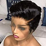 Pixie Wig 12A Grade Virgin Human Hair Wig 4×4 Lace Closure Wigs Brazilian Short Hair Cut Wigs Pre Plucked Hairline Unprocessed Pixie Hair Wig for Fashion Women