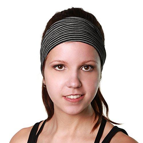 Kunst und Magie Stirnband Haarband Bandana Kopftuch Goa, Farbe:Schwarz / Grau