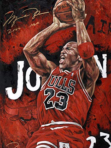 DIY 5D Diamond Painting by Number Kits 14x20 Inch,Basketball Game Star Painting Cross Stitch Full Drill Crystal Rhinestone Embroidery Pictures Arts Craft for Home Wall Decor Gift A28074