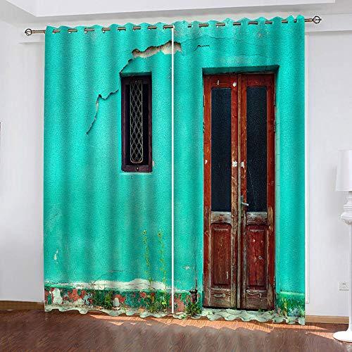 DRFQSK Cortinas Opacas Térmicas Aislantes para Salon Cortinas con Ojales para Dormitorio Impresión 3D Pared Azul Vintage Cortinas para Ventanas 2 Piezas 264 X 214 Cm(An X Al)