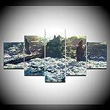 Wall Art 5 Panel Naves espaciales futura ciudad nubes Pintura de la Pintura de la Pared La impresión de la Imagen Decoración Moderna del del Interior Modular La Lona Pintura Talla:150X80Cm Con marco