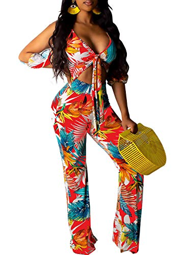 Women Floral Jumpsuits Sexy V Neck Tie Front Crop Tops High Waist Wide Leg Long Pants One Piece Outfits Jumpsuits Red