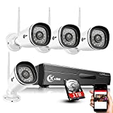 XVIM H.264 2MP Wireless Signal Security Cameras System 1TB HDD, 4CH 1080P HD NVR 4pcs 1080P Wireless Outdoor Indoor Waterproof Surveillance Cameras 100ft Night Vision