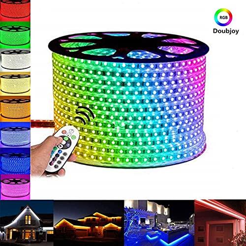 ZJDM Tira de LED RGB Flexible de 20 m, 220 V con Control Remoto: 60 LED/m, Resistente al Agua IP65, luz de Cuerda 5050 Que Cambia decoración de Navidad de Fiesta Exterior