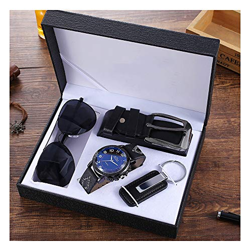 YOLANDE Mode Herren Geschenkset Schwarz Gürtel + Schlüsselanhänger + Brille + Temperamentuhr Set Geschenkbox-Verpackung Für Männer Papa Vatertag
