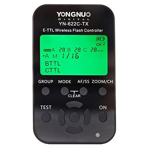 Yongnuo YN622TX Canon - Disparador Flash inalámbrico (TTl, LCD, 100 m), Color Negro