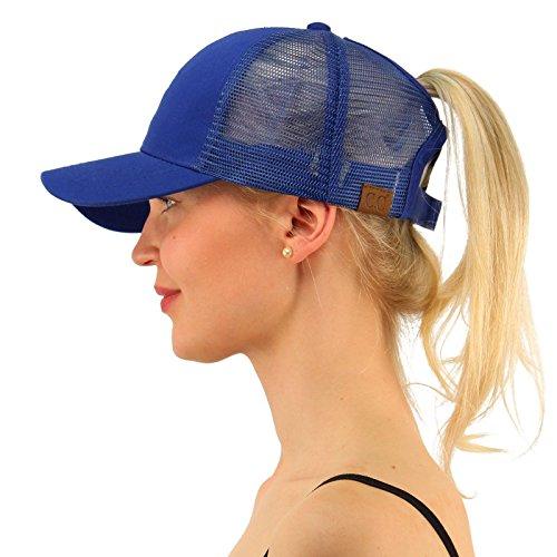 C.C Ponytail Messy Buns Trucker Ponycaps Plain Baseball Visor Cap Dad Hat Royal