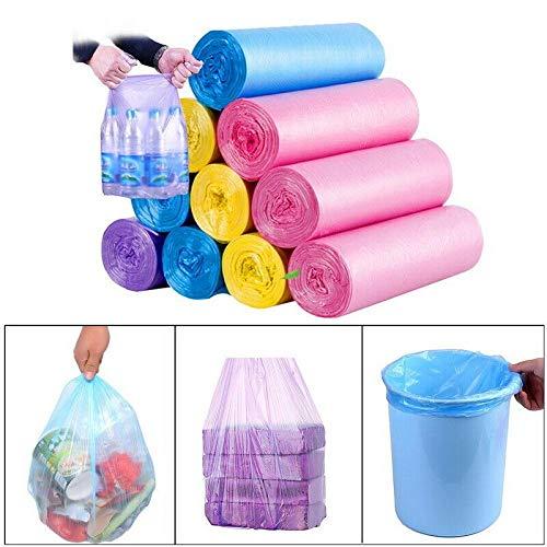 JI Sac à ordures 5 Rouleaux Petit Sac à ordures Sacs Poubelle en Plastique jetable Durable Cuisine à Domicile-Bleu_45 x 55 cm