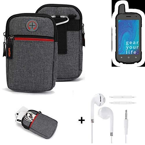 K-S-Trade® Gürtel-Tasche + Kopfhörer Für -Ruggear RG720- Handy-Tasche Schutz-hülle Grau Zusatzfächer 1x