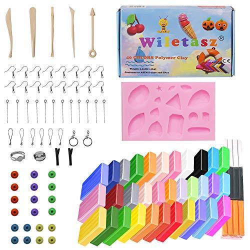 Wiletasz 40 colores de arcilla polimérica para niños, 1 kg / 2,2 libras, arcilla suave no tóxica para hornear, arcilla con herramientas de modelado, manualidades para niños, regalo